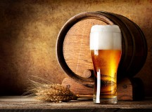 Wooden barrel and beer